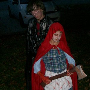 I designed both these costumes. I was an original character and my sister was Little Dead Riding Hood.