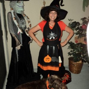 kitchen witch - me & my scraggly little dog too!