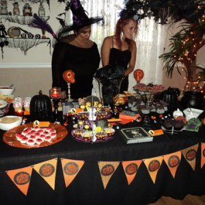 I made a pot of chili and each guest brought a Halloweeny appetizer or dessert for the Creative Cauldron Contest