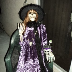 skelly witch, I put her outfront to greet the women as they were arriving