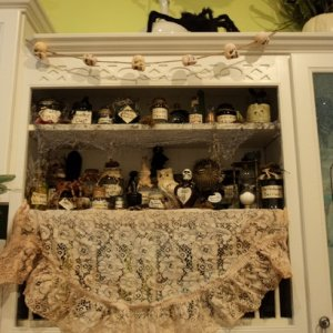 potion display - tried to cover up the plate rack, it didn't look too witchy :)