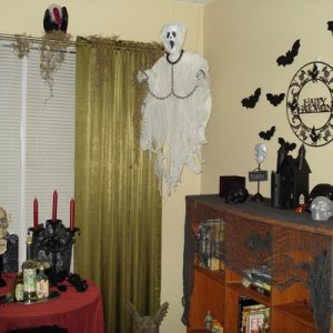 Indoor decor several years ago....very lame but I didn't have much then to work with. My stash of props/decor has grown to the size of  a beast.