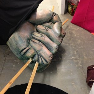 A giant hand I carved out of foam for our dead marionette to dangle from.  It will articulate with her movements. :-)