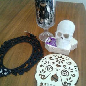 Michael's - owl hurricane, resin skull, mini coffins, laser-cut wood frame & DoD skull