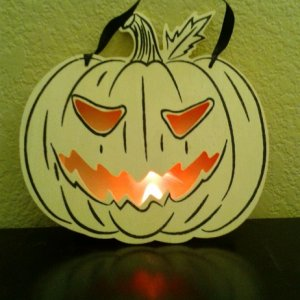 Lighted wood pumpkin from Michael's - will probably paint black so just the eyes /mouth stand out.