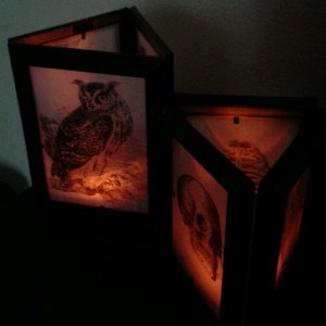 Lanterns - Dollar Tree frames taped together with duct tape, and clip art on vellum.