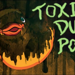 duck pond Sign (sign I made for a CarnEvil game that had a tall container like a big garbage can with water in it. And I made gross or toxic looking p