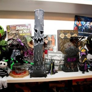 Some of my gifts in there new home with other reaper gifts (and Halloween knick-knacks)
