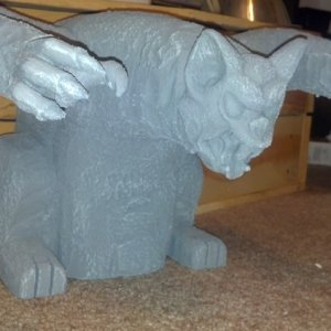 quick gargoyle I whipped up for a murder mystery party -white foam and Halloween bat head/hands