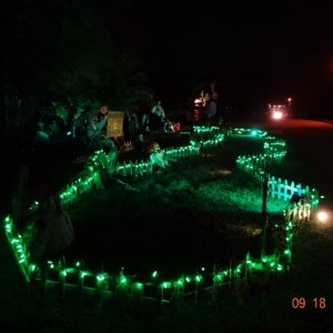 Green runway for Halloween Night - this way I don't trip on my decorations when scaring the kids!