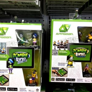 99 CENT ONLY, 2013. App games from WowWee, Zombie Burbz, free onine, these action figures tie into game. Zombie Burbz High and Diner shown.