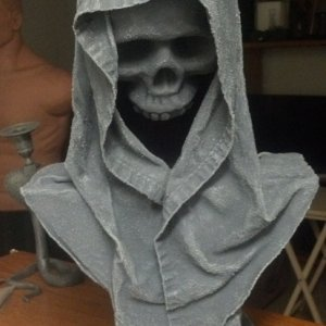 Hooded Bust -a bit of foam, a skull and a sheet.