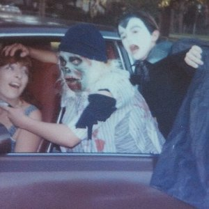 Circa 1982. Our mom as the victim, me as some sort of monster and my brother as Dracula.