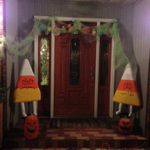 The front door guarded by the candy corn men