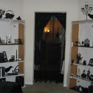 The door is covered with black lace (spiderweb pattern) leads into hall where the coffin is on ceiling and the floor is stars and moon.