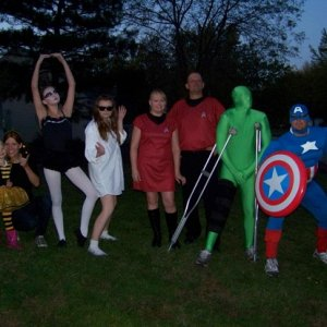 My wife and I are star trek,daughter-risky business,brother- captain america,nephew-green man,niece-black swan,sister with niece-bee