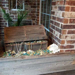 "The chest this year is considered to be the ""cargo hold"" of the ship, so removed the rock that I had on it last year and did wood design lik"