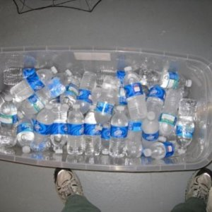 Frozen water bottles for the fog chiller.