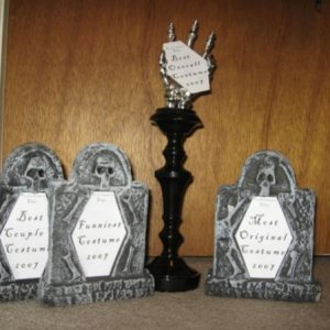 The costume trophies for our party.