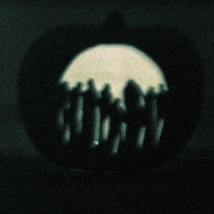 My Dawn of the Dead jack-o-lantern, lit.