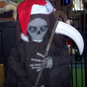 Even the reaper is getting into the holiday spirit