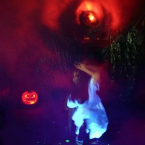 "Here's my wife doing her best ""The Ring"" impression with the fog vortex and black light effects. 2007 Haunt"