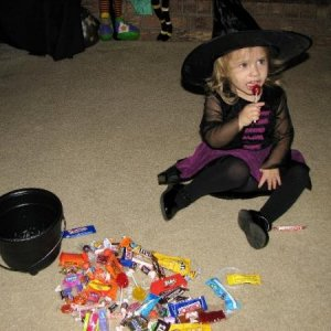 My little witch and her Trick or Treat stash