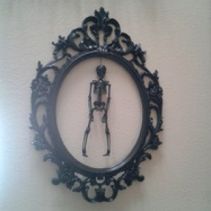IKEA frame with skeleton - saw this on Pintrest
