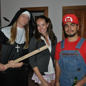 Nun, school girl and mario