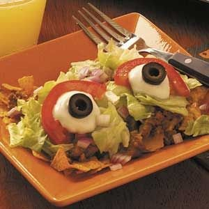 Spooky Monster's Taco Salad Ingredients •2-1/2 pounds ground beef  •3/4 cup water •1 can (8 ounces) tomato sauce •1 envelope taco seasoning •1 package