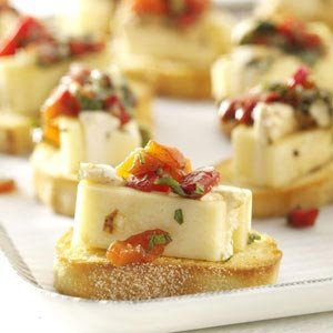 Marinated Cheese 32 Servings  Ingredients •2 blocks (8 ounces each) Monteray Jack •2 packages (8 ounces each) cream cheese, softened •3/4 cup chopped
