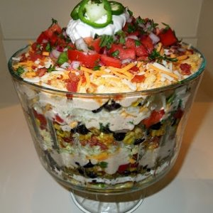 Southwest Cornbread Salad  For the spicy ranch dressing: 1 [1.0 oz] package of Spicy Ranch dressing mix 1 1/3 cups milk/buttermilk 1 cup mayonnaise  F