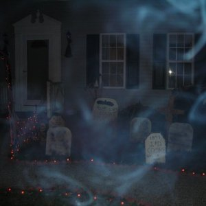 Picture of the front step area with fog machine running. Notices the faces? No photo shop here.