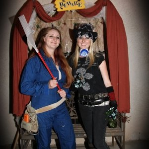 We figured we'd dress the part.  I'm an exterminator, and my sis went for it as Billy