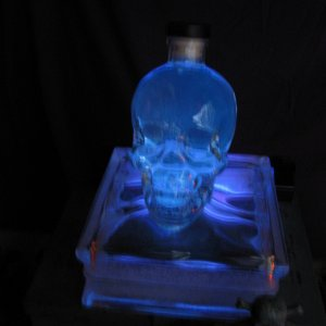 glass skull lit with black light--photo doesn't show the green glow from the tonic water in the skull