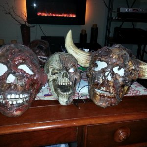 corpsified ceramic skulls my wife Billie made.