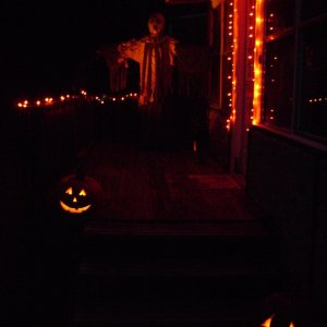 DSC03467  Photo of the front porch taken on Halloween night.