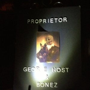 HauntedHotel2013. Lenticular signage. George and dog as part of the departed.