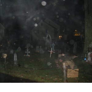 Cemetery rain. It rained a few times Halloween night but thankfully not hard or for long.