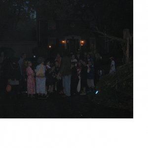 Trick or treating Crowd. Groups came in waves this year and many milled about the driveway and yard for a while.