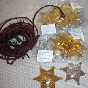 sheriff badges for treat bags, faux barbed wire