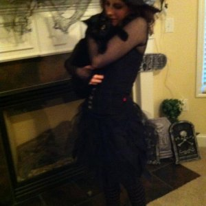Me and my black cat, named Wednesday.  After Wednesday Addams of course! :D