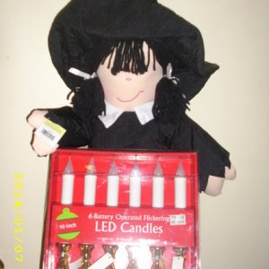 witch doll and candles from Biglots