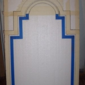 Tombstone shape drawn on polystyrene and masked off