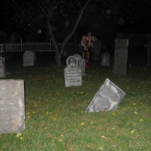 Through the Cemetary gates and into the graveyard...the dead walk on halloween night!