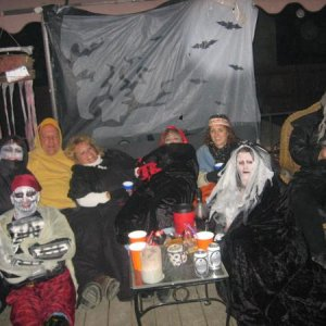 Hunkering in on the deck from a North Dakota Halloween wind