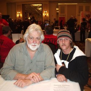 "Chris and Gunnar Hanson (THE original Leatherface).  Nice Guy - He's working on ""Whalewatching Massacre"" right now."