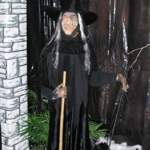 Witch - she is actually a pole lamp dressed up.  I added blinkers to the eyes.  Her familiar - the owl - is at her feet.