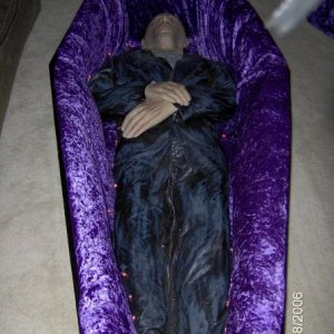 The finished coffin - don'tcha love the crushed velvet lining?
