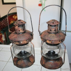 Big Lots lanterns, rusted
